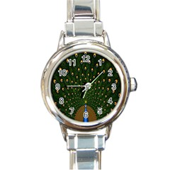 Peacock Feathers Green Round Italian Charm Watch by AnjaniArt