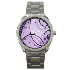 Purple Background With Ornate Metal Criss Crossing Lines Sport Metal Watch by AnjaniArt