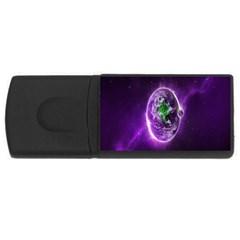 Purple Space Planet Earth USB Flash Drive Rectangular (2 GB) by AnjaniArt
