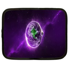 Purple Space Planet Earth Netbook Case (XXL)  by AnjaniArt
