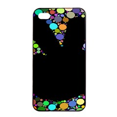 Prismatic Negative Space Comic Peace Hand Circles Apple Iphone 4/4s Seamless Case (black) by AnjaniArt