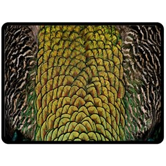 Peacock Bird Feather Color Fleece Blanket (large)  by AnjaniArt