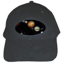 Outer Space Planets Solar System Black Cap by Onesevenart