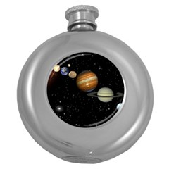 Outer Space Planets Solar System Round Hip Flask (5 Oz) by Onesevenart