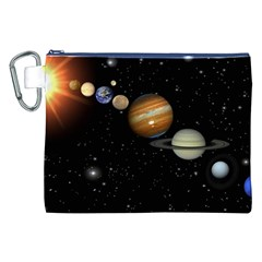 Outer Space Planets Solar System Canvas Cosmetic Bag (xxl) by Onesevenart