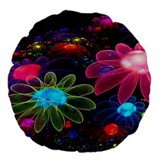 Nice 3d Flower Large 18  Premium Flano Round Cushions by Onesevenart