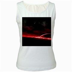 Outer Space Red Stars Star Women s White Tank Top by Onesevenart