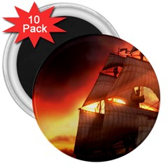 Pirate Ship Caribbean 3  Magnets (10 Pack)