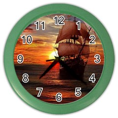 Pirate Ship Color Wall Clocks by Onesevenart
