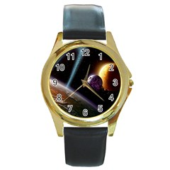 Planets In Space Round Gold Metal Watch by Onesevenart