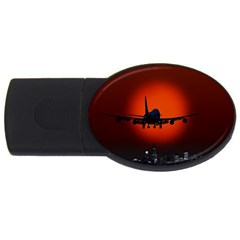 Red Sun Jet Flying Over The City Art Usb Flash Drive Oval (2 Gb) by Onesevenart