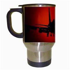Red Sun Jet Flying Over The City Art Travel Mugs (white) by Onesevenart