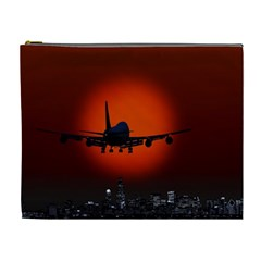Red Sun Jet Flying Over The City Art Cosmetic Bag (xl)