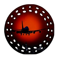Red Sun Jet Flying Over The City Art Ornament (round Filigree) by Onesevenart