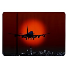 Red Sun Jet Flying Over The City Art Samsung Galaxy Tab 8 9  P7300 Flip Case by Onesevenart