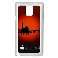 Red Sun Jet Flying Over The City Art Samsung Galaxy Note 4 Case (white) by Onesevenart