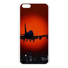 Red Sun Jet Flying Over The City Art Apple Seamless iPhone 6 Plus/6S Plus Case (Transparent) by Onesevenart