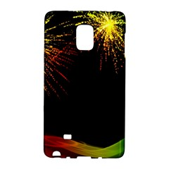 Rainbow Fireworks Celebration Colorful Abstract Galaxy Note Edge by Onesevenart