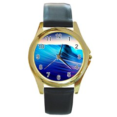 Rolling Waves Round Gold Metal Watch by Onesevenart