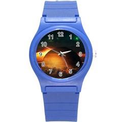 Saturn Rings Fantasy Art Digital Round Plastic Sport Watch (s) by Onesevenart