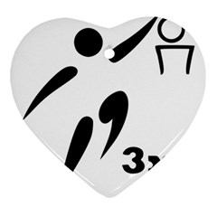 3 On 3 Basketball Pictogram Ornament (heart) by abbeyz71