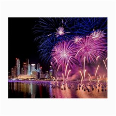 Singapore New Years Eve Holiday Fireworks City At Night Small Glasses Cloth by Onesevenart