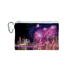Singapore New Years Eve Holiday Fireworks City At Night Canvas Cosmetic Bag (s) by Onesevenart