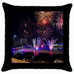 Singapore The Happy New Year Hotel Celebration Laser Light Fireworks Marina Bay Throw Pillow Case (black) by Onesevenart