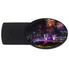 Singapore The Happy New Year Hotel Celebration Laser Light Fireworks Marina Bay Usb Flash Drive Oval (4 Gb) by Onesevenart