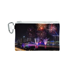 Singapore The Happy New Year Hotel Celebration Laser Light Fireworks Marina Bay Canvas Cosmetic Bag (s) by Onesevenart