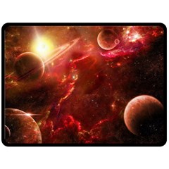 Space Red Double Sided Fleece Blanket (large)  by Onesevenart