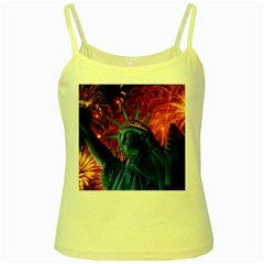 Statue Of Liberty Fireworks At Night United States Of America Yellow Spaghetti Tank by Onesevenart