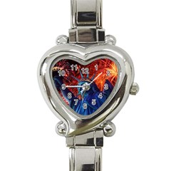 Statue Of Liberty Fireworks At Night United States Of America Heart Italian Charm Watch by Onesevenart