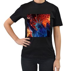 Statue Of Liberty Fireworks At Night United States Of America Women s T Shirt (black) (two Sided) by Onesevenart