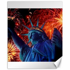 Statue Of Liberty Fireworks At Night United States Of America Canvas 11  X 14   by Onesevenart