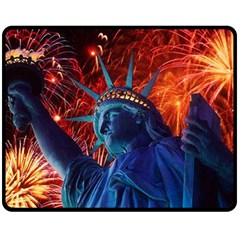 Statue Of Liberty Fireworks At Night United States Of America Fleece Blanket (medium)  by Onesevenart