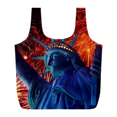 Statue Of Liberty Fireworks At Night United States Of America Full Print Recycle Bags (l)  by Onesevenart