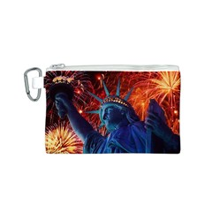 Statue Of Liberty Fireworks At Night United States Of America Canvas Cosmetic Bag (s) by Onesevenart