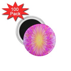 Round Bright Pink Flower Floral 1 75  Magnets (100 Pack)  by AnjaniArt