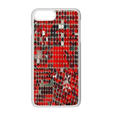 Red Circle Apple iPhone 7 Plus White Seamless Case by AnjaniArt