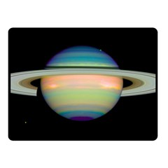 True Color Variety Of The Planet Saturn Double Sided Fleece Blanket (small)  by Onesevenart