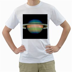 True Color Variety Of The Planet Saturn Men s T Shirt (white)  by Onesevenart