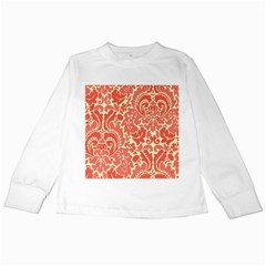Red Floral Kids Long Sleeve T-Shirts by AnjaniArt