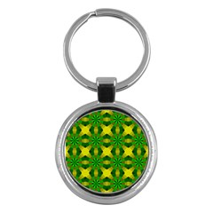 Background Colour Circle Yellow Green Key Chains (round)  by AnjaniArt