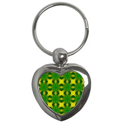 Background Colour Circle Yellow Green Key Chains (heart)  by AnjaniArt