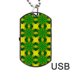 Background Colour Circle Yellow Green Dog Tag Usb Flash (two Sides) by AnjaniArt