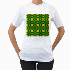 Background Colour Circle Yellow Green Women s T Shirt (white)  by AnjaniArt