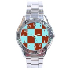 Box Chevron Brown Blue Stainless Steel Analogue Watch by AnjaniArt