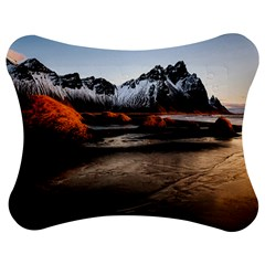 Vestrahorn Iceland Winter Sunrise Landscape Sea Coast Sandy Beach Sea Mountain Peaks With Snow Blue Jigsaw Puzzle Photo Stand (bow) by Onesevenart