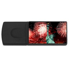 The Statue Of Liberty And 4th Of July Celebration Fireworks Usb Flash Drive Rectangular (4 Gb) by Onesevenart